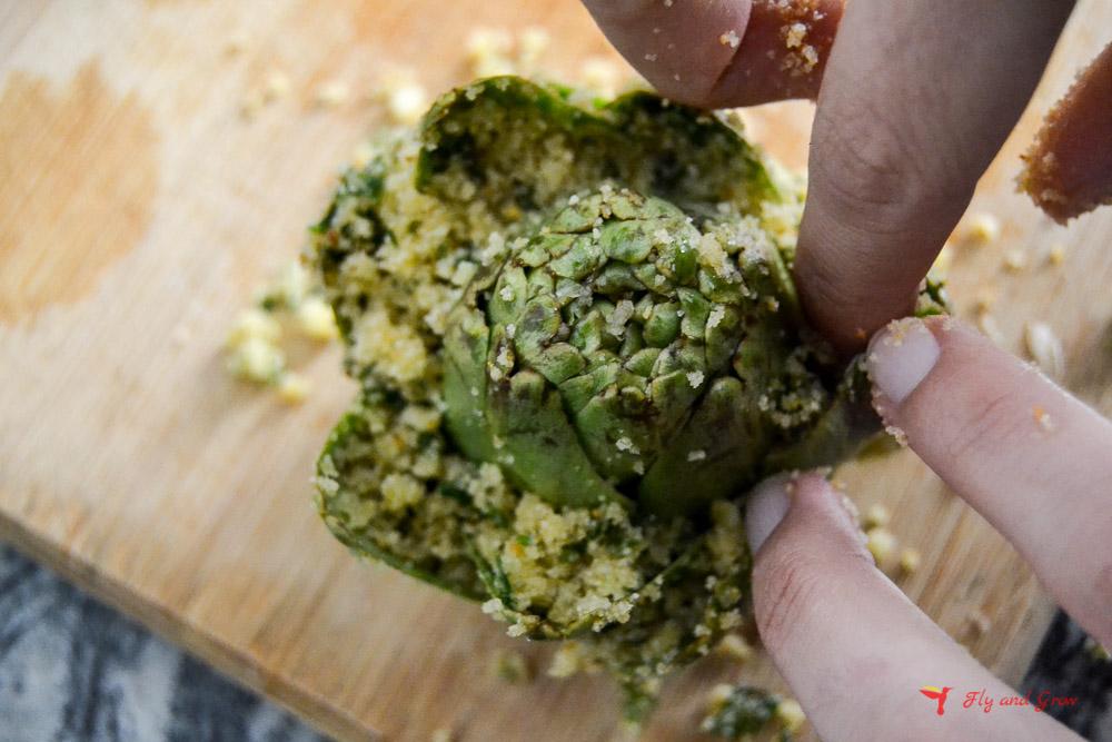 cómo rellenar la alcachofa
