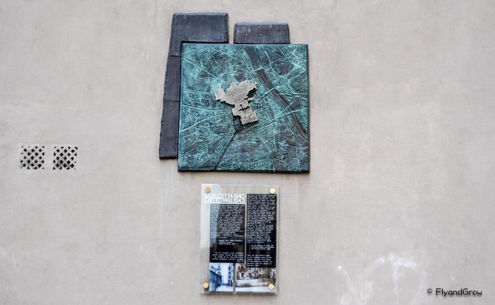 Placa que marca el límite del gueto de Varsovia
